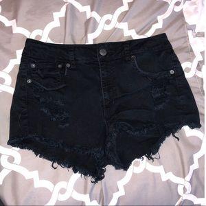 High-waisted black jean shorts